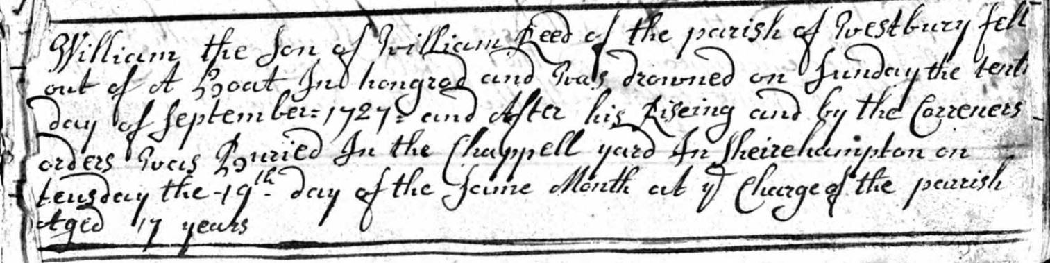 1727 Shirehampton burial record