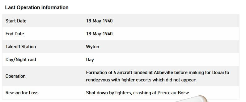 Record of Bomber Command loss
