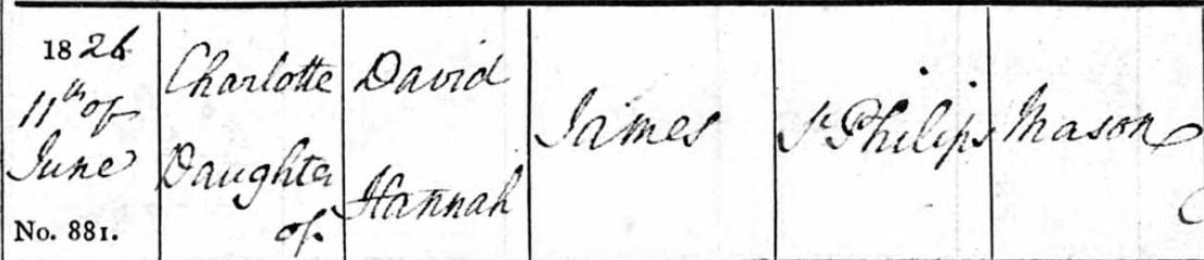 Charlotte james Baptism record part two